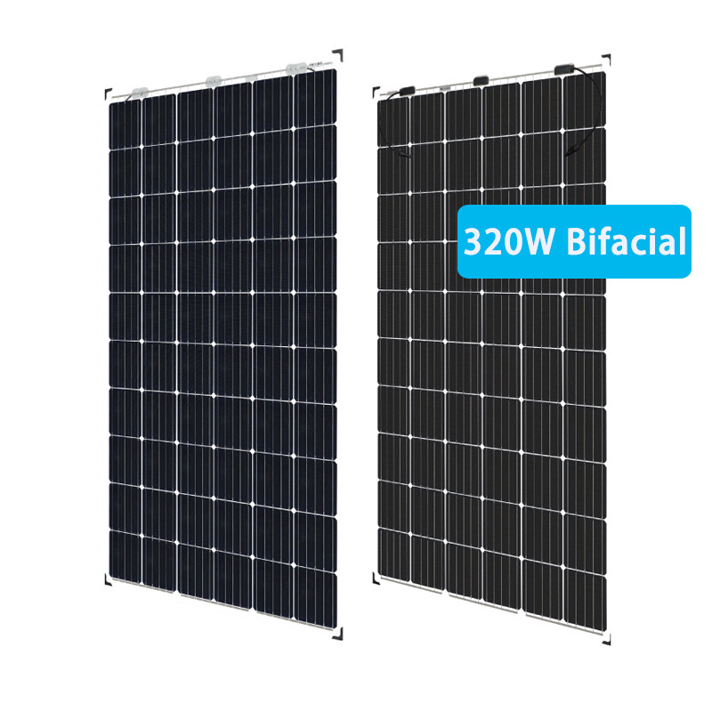 320W photovoltaic frameless bifacial solar panels 24v