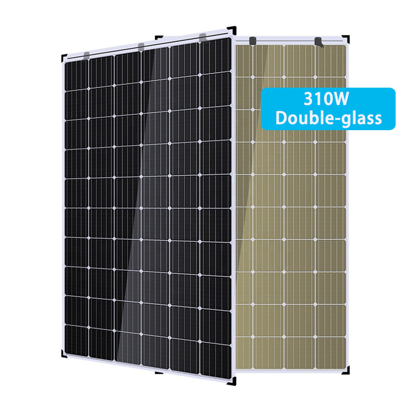 310W solar cell double glass panel for greenhouse usage
