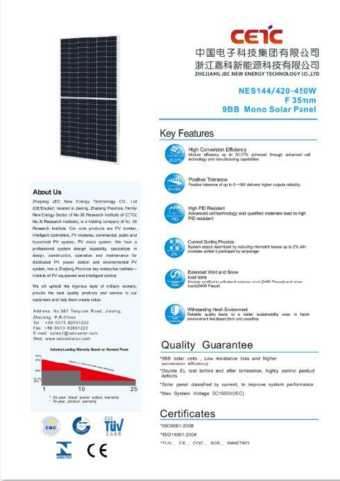 9BB 166mm 420W-450W Mono Half Cell Solar Panel