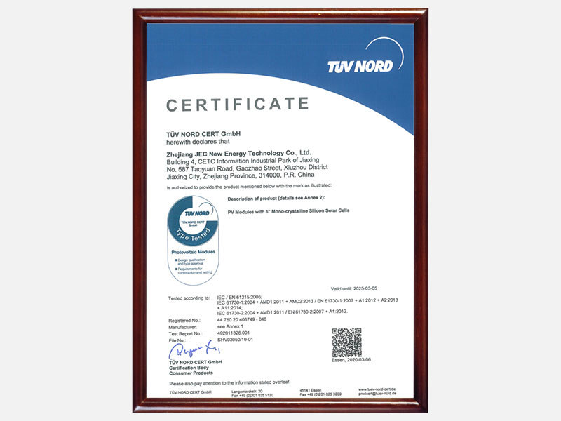 TUV 2020 for PV modules with 6