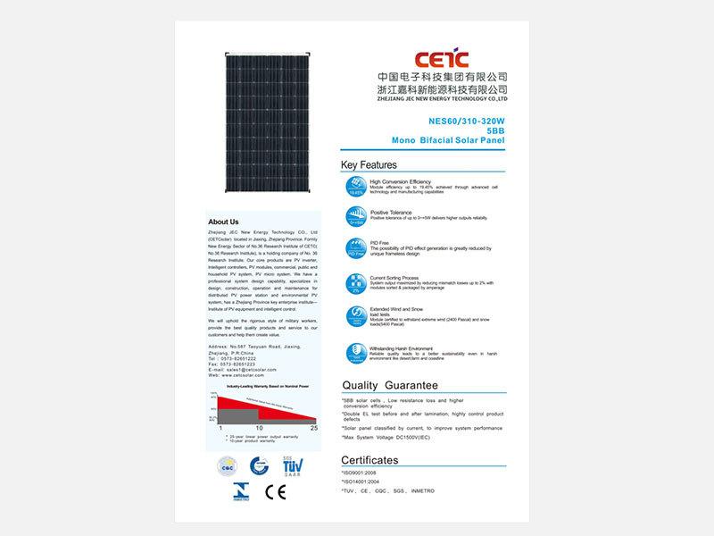 310W 315W 320W Bifacial mono solar panel