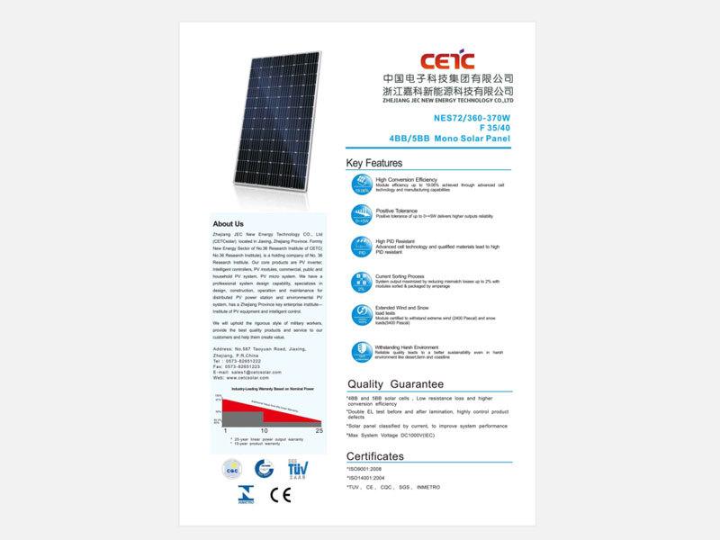 360W 365W 370W Standard mono solar panel