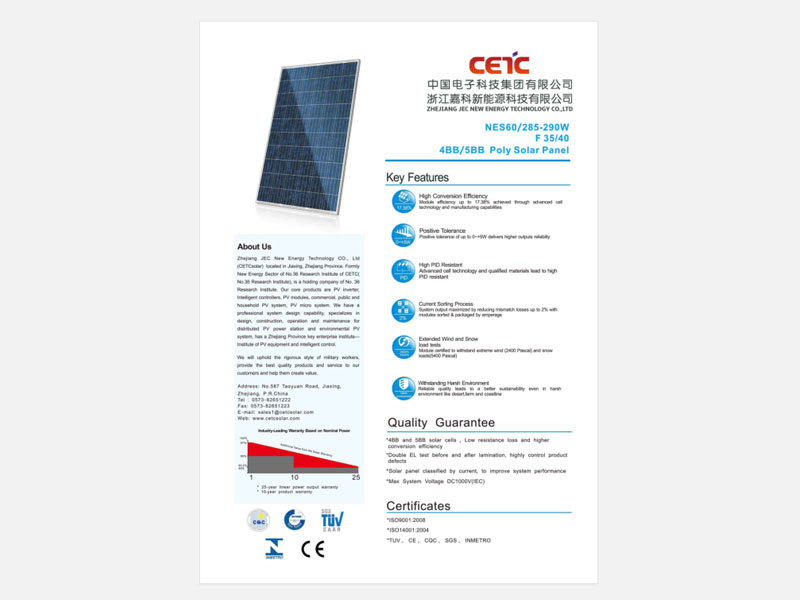 285W 290W Standard poly solar panel